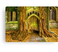 Yew Trees and North Door, St. Edwards Parish Church, Stow on the Wold, England Canvas Print