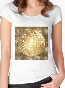 Golden disco ball Women's Fitted Scoop T-Shirt