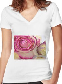 White pink roses 3 Women's Fitted V-Neck T-Shirt