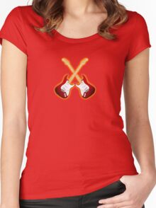 Double red american fender Stratocaster Women's Fitted Scoop T-Shirt