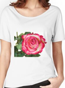 White pink rose Women's Relaxed Fit T-Shirt