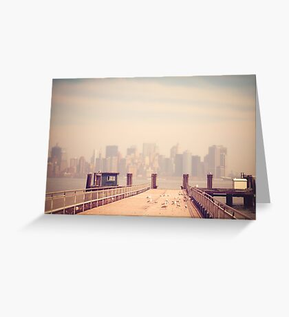 Vintage view of Manhattan from the pier Greeting Card