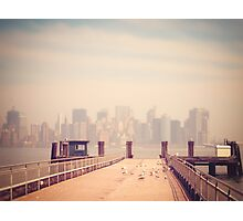 Vintage view of Manhattan from the pier Photographic Print