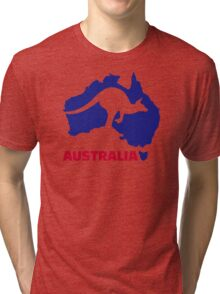 Australia map kangaroo Tri-blend T-Shirt