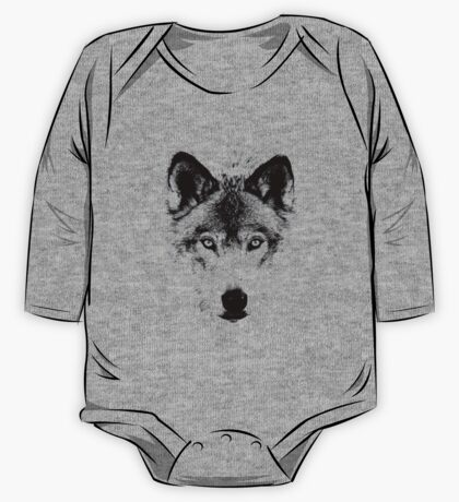 Wolf Face. Digital Wildlife Image. One Piece - Long Sleeve