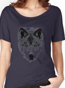 Wolf Face. Digital Wildlife Image. Women's Relaxed Fit T-Shirt