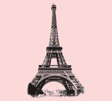 Eiffel Tower Digital Engraving Kids Tee