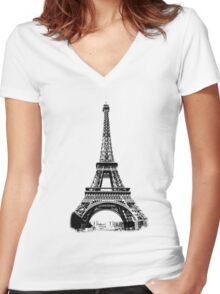 Eiffel Tower Digital Engraving Women's Fitted V-Neck T-Shirt