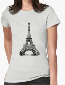 Eiffel Tower Digital Engraving Womens Fitted T-Shirt