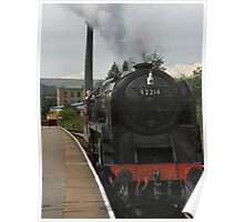 Steam loco pulling in Poster