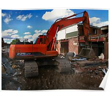 JCB & partially demolished building Poster