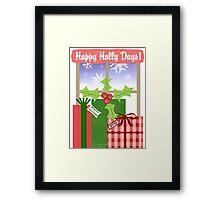 Whimsical Christmas Holly & Gifts Art  Framed Print