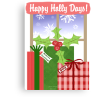 Whimsical Christmas Holly & Gifts Art  Canvas Print