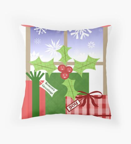 Whimsical Christmas Holly & Gifts Art  Throw Pillow