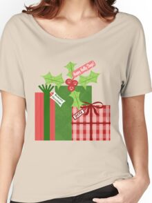 Whimsical Christmas Holly T-Shirt Women's Relaxed Fit T-Shirt