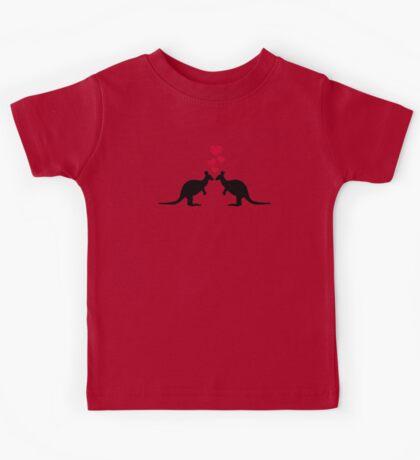Kangaroos red hearts love Kids Tee