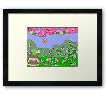 frog vs ladybugs... Framed Print