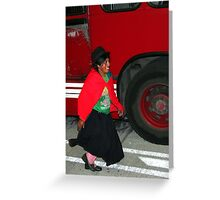 Running to Catch the Bus Greeting Card