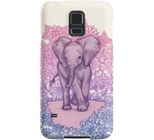 Cute Baby Elephant in pink, purple & blue Samsung Galaxy Case/Skin