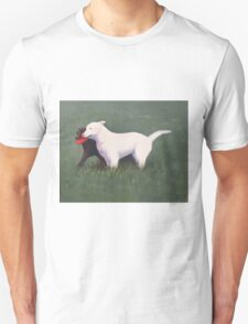labrador retrievers with red frisbee Unisex T-Shirt