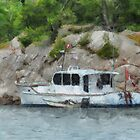 Two Boats by Rocky Shoreline by ClaireBull