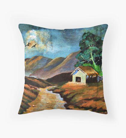 Dark Hut Throw Pillow
