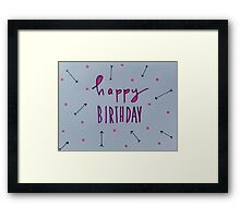 happy birthday. purple + arrows Framed Print