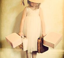 girl with suitcases by Catherine  Regan