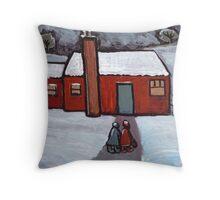 Little red house snowscene Throw Pillow