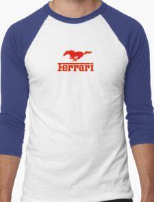 Ferrari Mustang Parody - Red / Yellow Men's Baseball ¾ T-Shirt