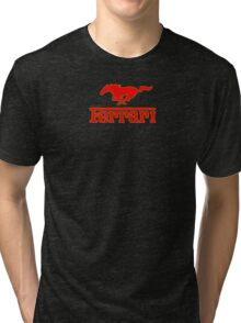 Ferrari Mustang Parody - Red / Yellow Tri-blend T-Shirt