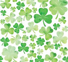 St Patricks Day Green Watercolour Shamrock Pattern by tanyadraws