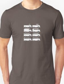 VW Type 2 Split Window Line Up Unisex T-Shirt
