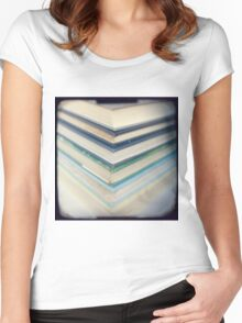 Blue chevrons Women's Fitted Scoop T-Shirt