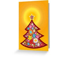 Spring Flowers Christmas Tree Greeting Card