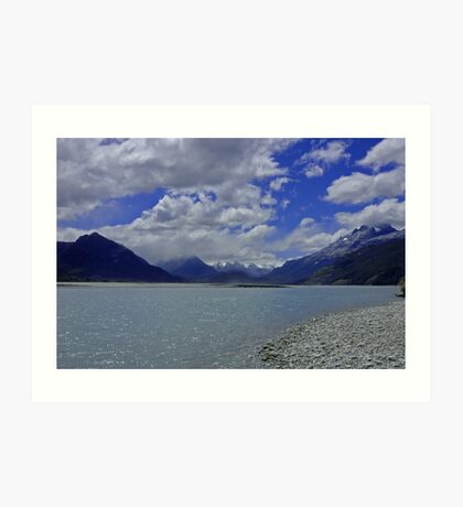 River and Mountains, New Zealand Art Print