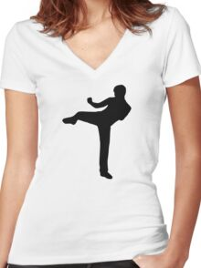 Martial arts Karate kick Women's Fitted V-Neck T-Shirt