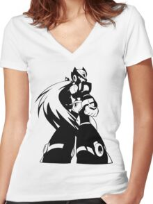 Zero from Megaman X  Women's Fitted V-Neck T-Shirt
