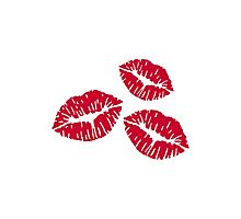 Red kisses lips Photographic Print