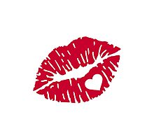 Red kiss heart Photographic Print