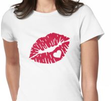 Red kiss heart Womens Fitted T-Shirt