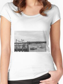 New England Winter Pier  Women's Fitted Scoop T-Shirt