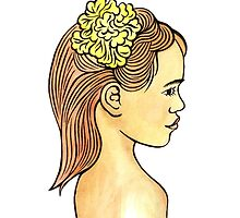 Island Girl with Yellow Hibiscus flower by Anna Lloyd