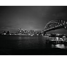 Sydney Harbour Bridge, CBD Skyline and Opera House at night Photographic Print
