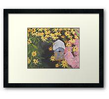Bird house and Black Eyed Susans Framed Print