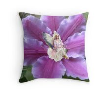 Fairy in the Clematis Throw Pillow