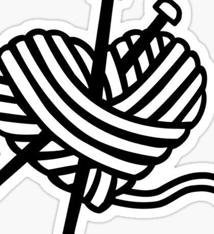 Wool heart knitting needles Sticker