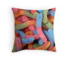 Candy Worms Throw Pillow