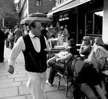 Waiter on the street in Paris by Tibetansky