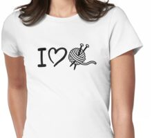 I love wool knitting needles Womens Fitted T-Shirt